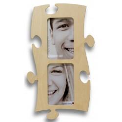 Puzzle Bilderrahmen aus Holz in Puzzleform für zwei Fotos Hoch und Querformat möglich