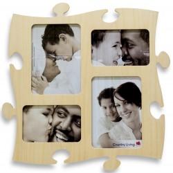 Puzzlegalerie Fotorahmen aus Holz in Puzzleform für verschiedene Fotogrößen